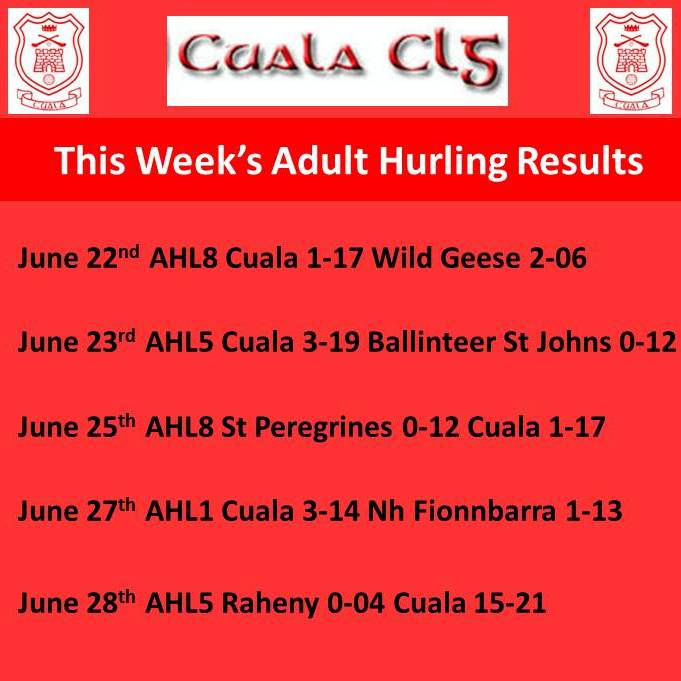 ZZThis Week's Adult Hurling Results